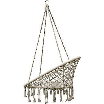 Wiszące krzesło beżowe - fotel bociana - 80x60 cm