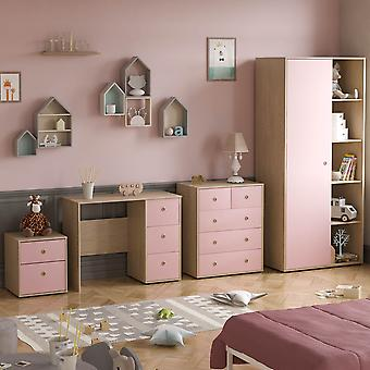 Neptune 4 Piece Bedroom Furniture Set Desk, Bedside Table, Chest of Drawers, Wardrobe Two-tone, Pink & Oak