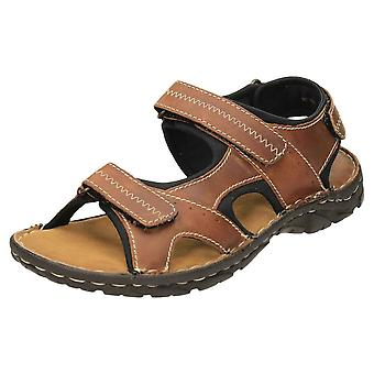 Red Tape Mens Leather Brown Rip Tape Sandals Sports Walking Shoes