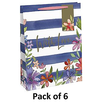 Eurowrap Striped Gift Bag (Pack of 6)
