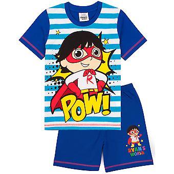 Ryans World Pyjamas For Boys | Kids Youtube Superhero T Shirt Trousers PJs Set | Childrens Striped Clothing Merchandise