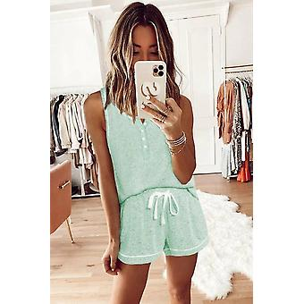 Cute Green Knit Sleeveless Shorts Pajamas Set