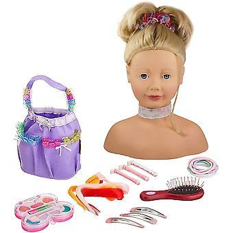 Wokex 1192052 Haarwerk mit blonden Haaren und blauen Augen - 28 cm hoher Frisierkopf- und