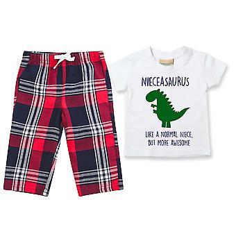 Niece Dinosaur Tartan Trouser Pyjamas