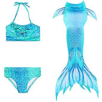 Mermaid fata costum de baie trei piese bikini coada pentru înot tscs-6