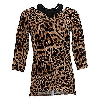 Belle par Kim Gravel Women's Top (XXS) Leopard Print V-Neck Brown A383515