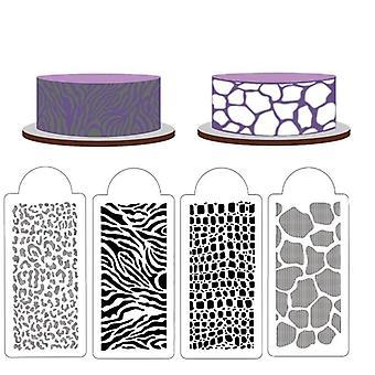 4 Peças de estêncil de fabricação de açúcar com padrões animais selvagens para decoração de bolo