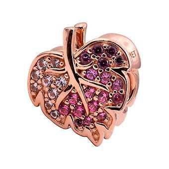PANDORA Leaf Pandora Rose Charm With Pink Mist, Cerise And Royal Purple Crystal - 788322NPMMX