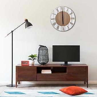 vidaXL wall clock brown and white 39.5 cm MDF
