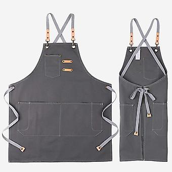 Canvas Apron with Pockets for Men Women, Artist Painting Kitchen Cooking Chef Apron (Grey 44)