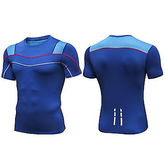 SPORX Men's Performance Top Shirt with Breathable Mash Blue