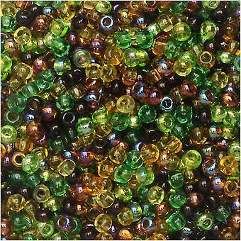 Tjekkiske glasfrø perler, 11/0 Runde, 24 Gram Tube, Earth Tone Mix