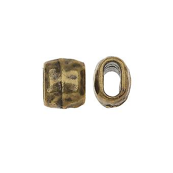 TierraCast Brass Oxide Finish Lead-Free Pewter Hammered Barrel Bead 4x2mm - Pack Of 2