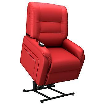 vidaXL Fotel z telewizorem elektrycznym ze stand-up aid czerwoną skórą