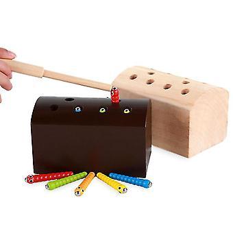Keltainen puinen magneettinen hyönteinen pyydystää leluja, vanhempien ja lasten interaktiivinen lelu, parannettu käsi-silmä koordinointi az1776