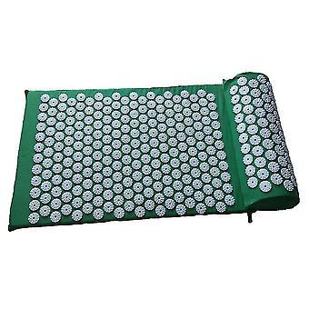 Oreiller et tapis de massage d'acupuncture vert pour soulager les maux de dos x6526