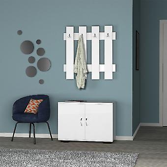 Fulya Eingangsschrank, Weiße Farbe aus Melaminspäne, Metall, Kunststoff, Kabinett L72xP35xA57cm, Kleiderbügel L72xP4xA72cm