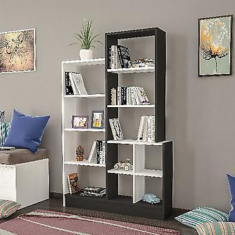 Libreria Monde, Colore Nero, Bianco in Truciolare Melaminico, L102,2xP22xA160,8 cm