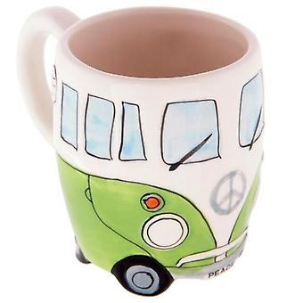 400ml luova käsimaalaus Kaksinkertainen Bussi Mukit Retro Keraaminen Kuppi Kahvi Maito Tee Muki (vihreä)