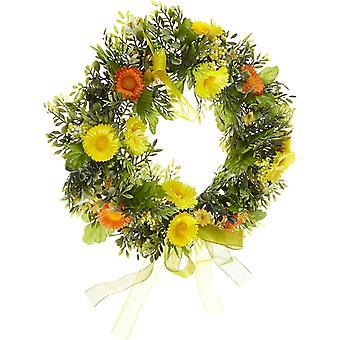 Frühlings-Kranz - Türkranz mit Blumen, Dekoration für Frühling und Ostern - Kunststoff