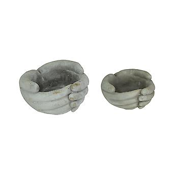 Set of 2 Helping Hands Concrete Planters Indoor Outdoor Plant Pot/Candle Holders