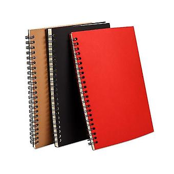 A5 Wirebound Spiral Notebook 50 Sheet 5 Pack Assorted Solid Colors(Black)