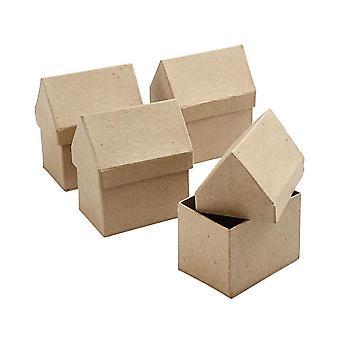 4 Cajas de Papel Mache en forma de Casa de 10.5cm para Decorar Cajas Papier Mache