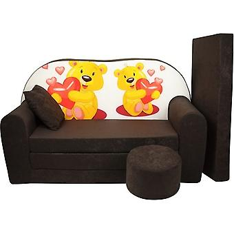Kinder slaapbank set - logeermatras - sofa - 170 x 100 x 8 - slaapbank - bruin - beertjes