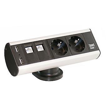 Axessline Schreibtisch, CEE 7/4, RJ45 ho, USB Typ A ho, Aluminium/Schwarz