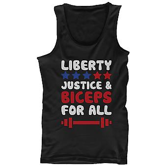 Men's Black Tank Top - LIBERTY JUSTICE AND BICEPS FOR ALL