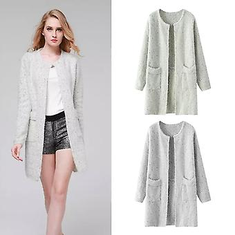 Autumn Winter Fashion Women Long Sleeve Solid Color Knitted Cardigan Sweater