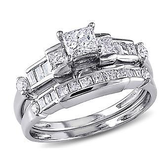 Princess Cut 1.0 Carat (ctw Color G-H Clarity I2_I3) Diamond Engagement Ring & Wedding Band  14K White Gold