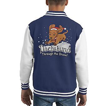 Daschund Through The Snow Kid's Varsity Jacket