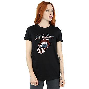 Rolling Stones Women's Tour Of America Boyfriend Fit T-Shirt