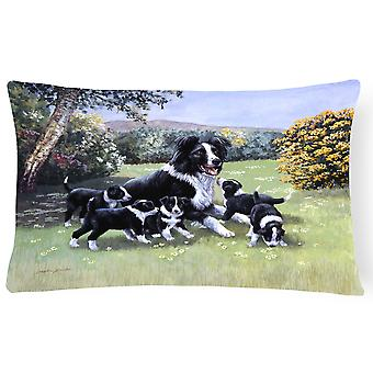 Border Collie Puppies with Momma Fabric Decorative Pillow