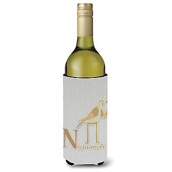 Alphabet N for Nightingale Wine Bottle Beverge Insulator Hugger