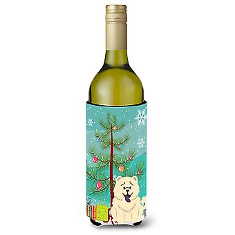 Merry Christmas Tree Chow Chow White Wine Bottle Beverge Insulator Hugger