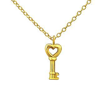 مفتاح القلب - 925 قلادة فضية عادية الجنيه الاسترليني - W24281x