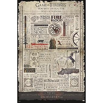 Game Of Thrones infographie affiche Poster Print