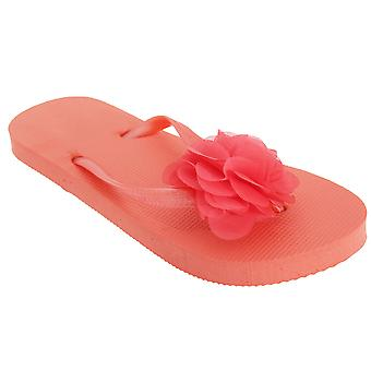 FLOSO Womens/Ladies Plain Toe Post Flip Flops With 3D Flower Detail