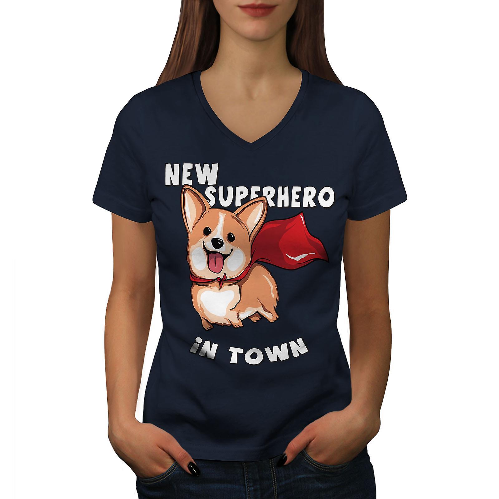 Nouveau super-héros chien femmes NavyV-Neck T-shirt | Wellcoda