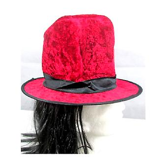 Rode hoge hoed met bijgevoegde haren