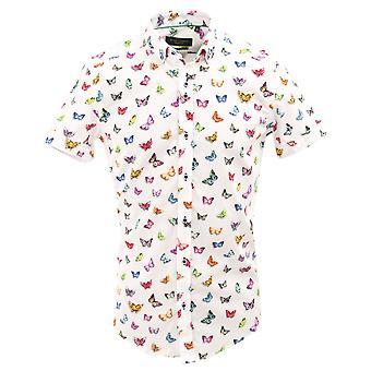 Guia Londres vibrante de borboleta branca algodão estampa Mens Short camisa de manga