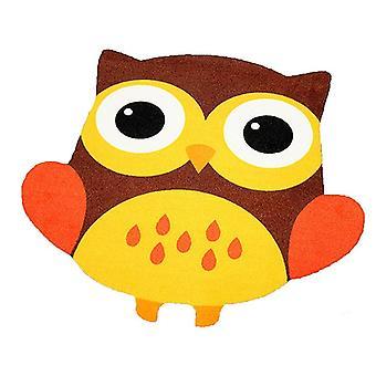 Children short-pile carpet OWL in the contour cut yellow / brown 101830