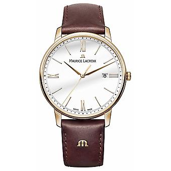 Maurice Lacroix Mens White Round Dial Brown Leather Strap EL1118-PVP01-112-1 Watch