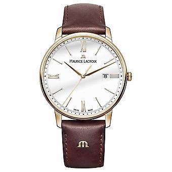 Maurice Lacroix valkoinen pyöreä soittaa ruskea nahka hihna EL1118-PVP01-112-1 kellot