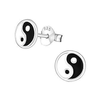 Yin and Yang - 925 Sterling Silver Colourful Ear Studs - W21533X