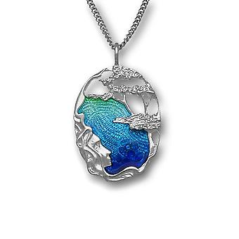 Sterling Silver Scottish Pat Cheney Enamel Hand Crafted Necklace Pendant Aquamarine - EP750