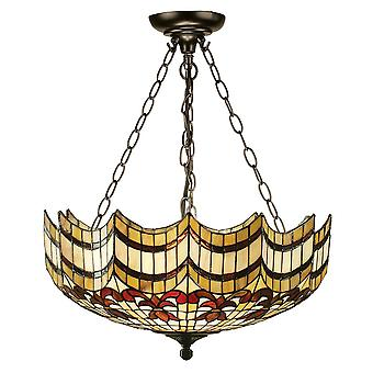 Interiors 1900 Vesta Semi-Flush Flared Tiffany Suspension Light