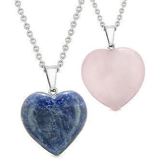 Amulette Glück geschwollene Herzen lieben Paare oder beste Freunde Set Sodalith Rosenquarz Anhänger Halsketten